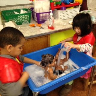 washing babies